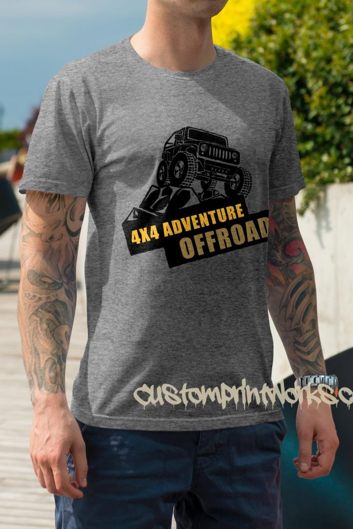 heather grey 4x4 t-shirt adventure off road