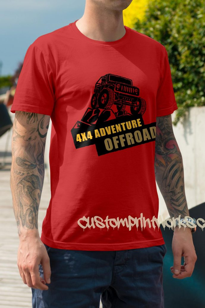 red 4x4 t-shirt adventure off road