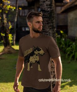 bull terrier dog t-shirt in brown and gold