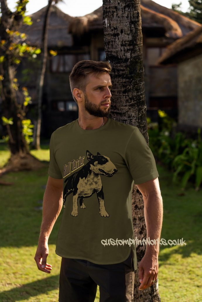 bull terrier dog t-shirt in green and gold