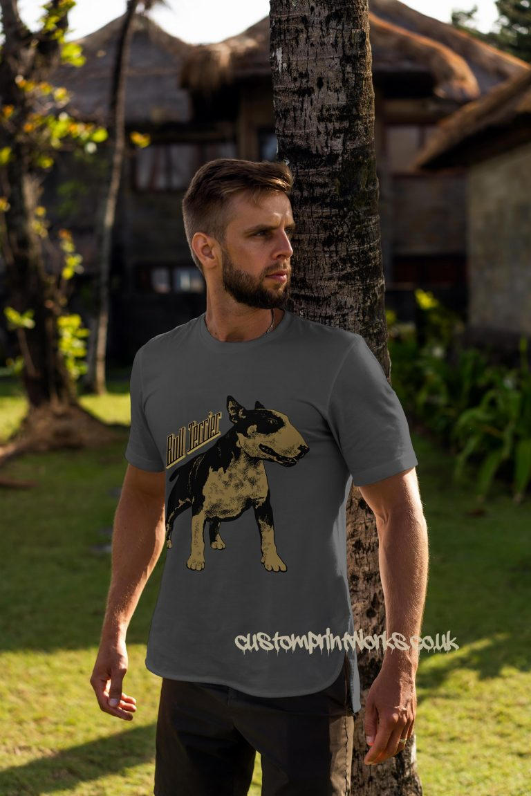bull terrier dog t-shirt in grey and gold