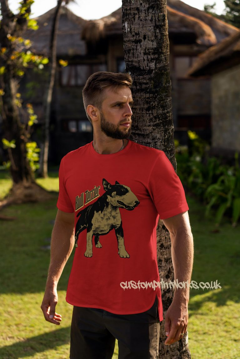 bull terrier dog t-shirt in red and gold