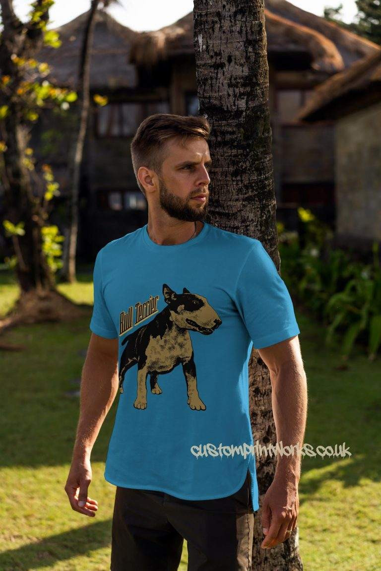 bull terrier dog t-shirt in sky blue and gold