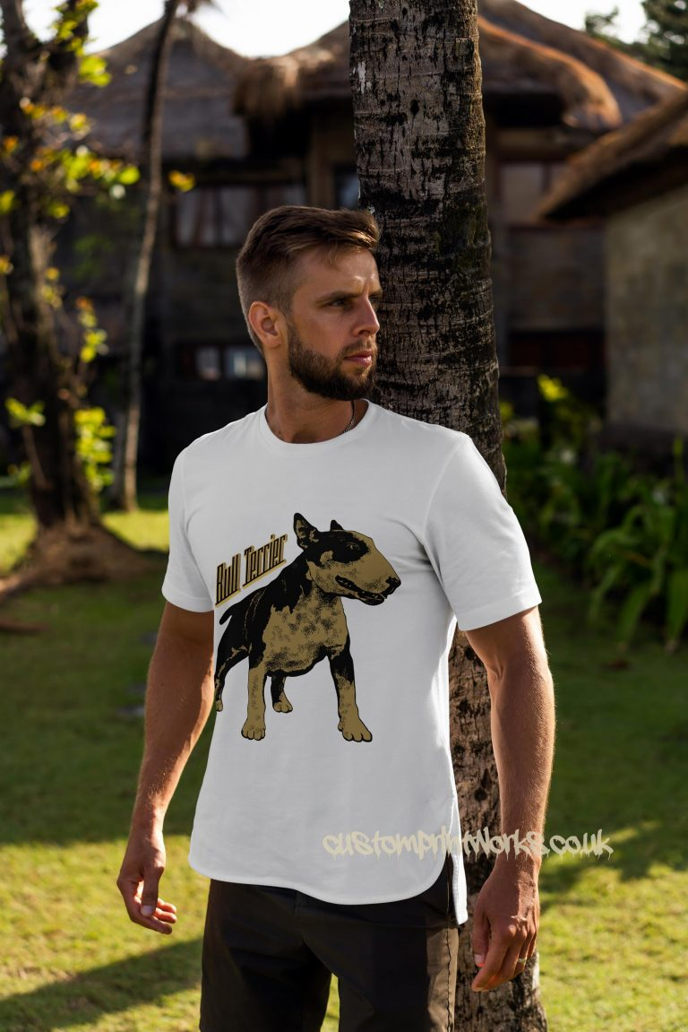 bull terrier dog t-shirt in white and gold