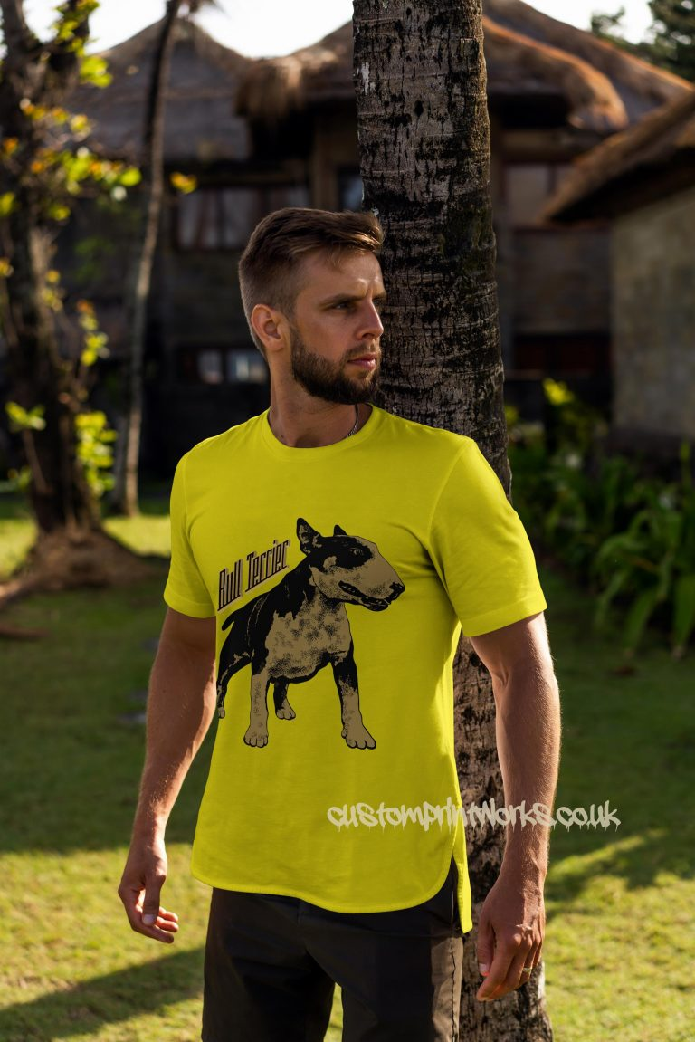 bull terrier dog t-shirt in yellow and gold