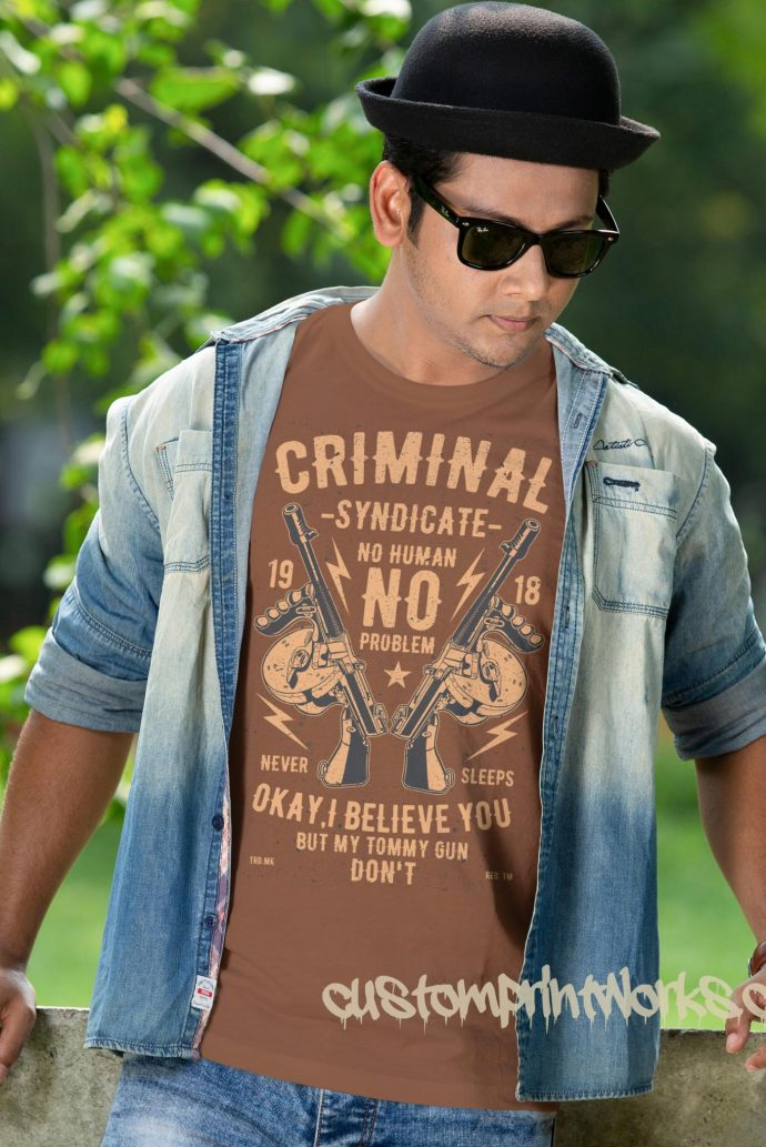 criminal syndicate t-shirt in brown