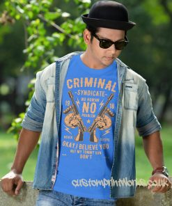criminal syndicate t-shirt in sky blue