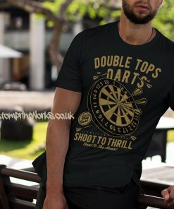 darts t-shirt double tops in black and gold