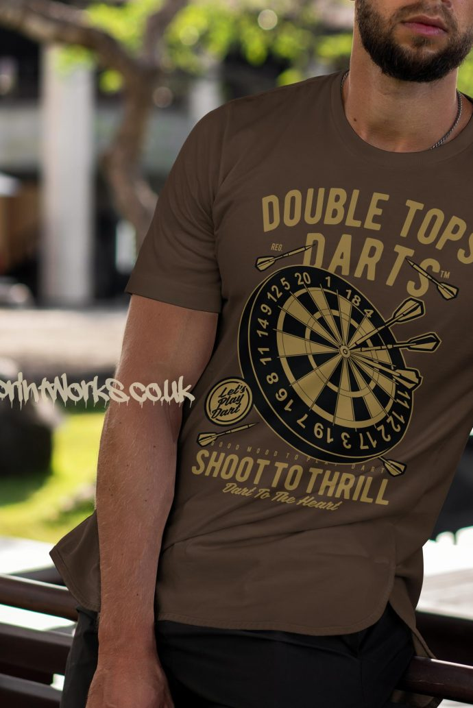 darts t-shirt double tops in brown and gold