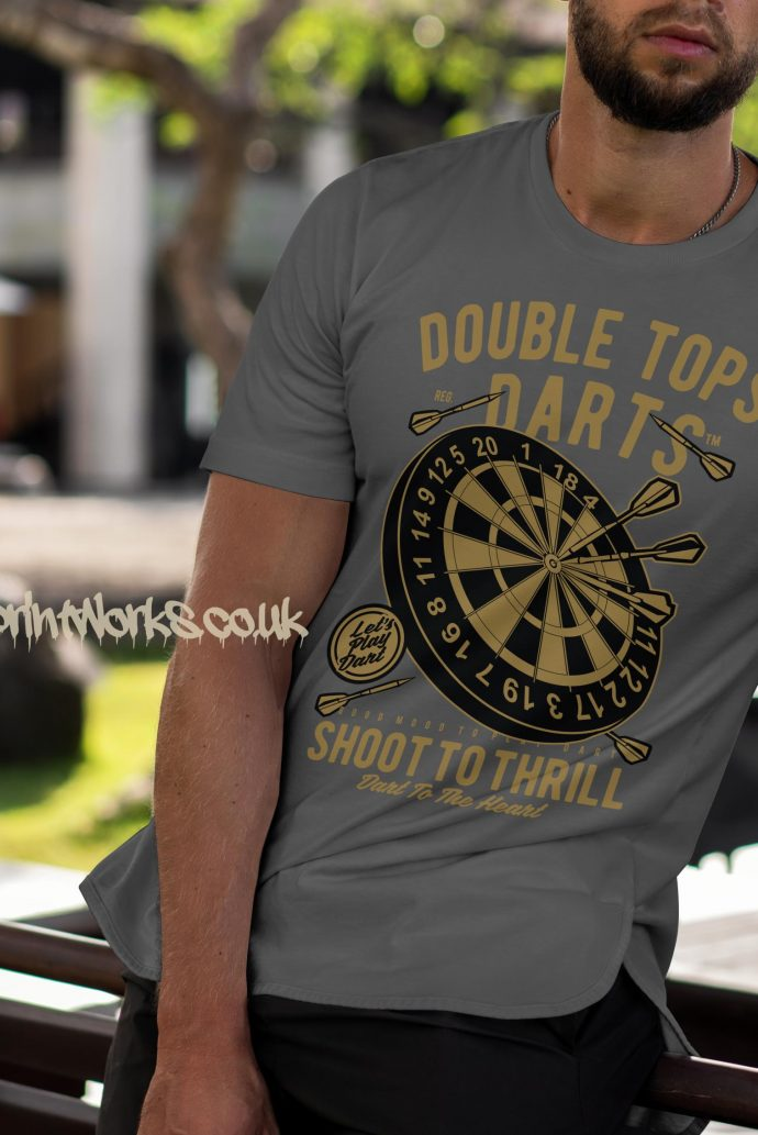 darts t-shirt double tops in grey and gold