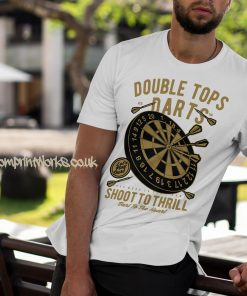 darts t-shirt double tops in white and gold