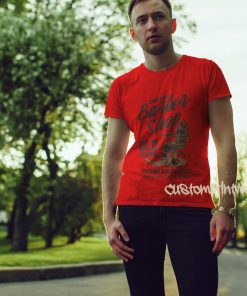 red mens barber shop t-shirt down town barbers