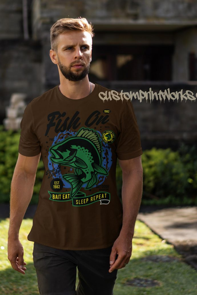fish on fishing t-shirt in brown