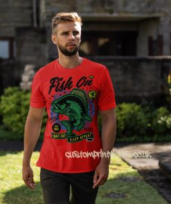fish on fishing t-shirt in red