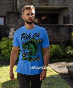 fish on fishing t-shirt in sky blue