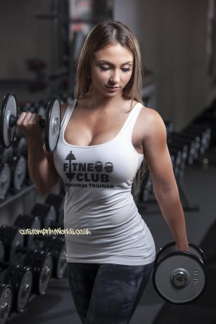Front view of fitness club personal trainer vest in white
