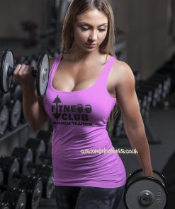 Front view of fitness club personal trainer vest in pink