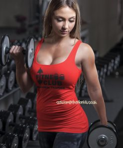Front view of fitness club personal trainer vest in red