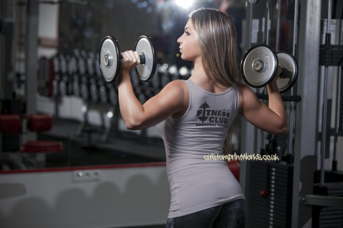 Womens fitness clubb personal trainer vest in grey