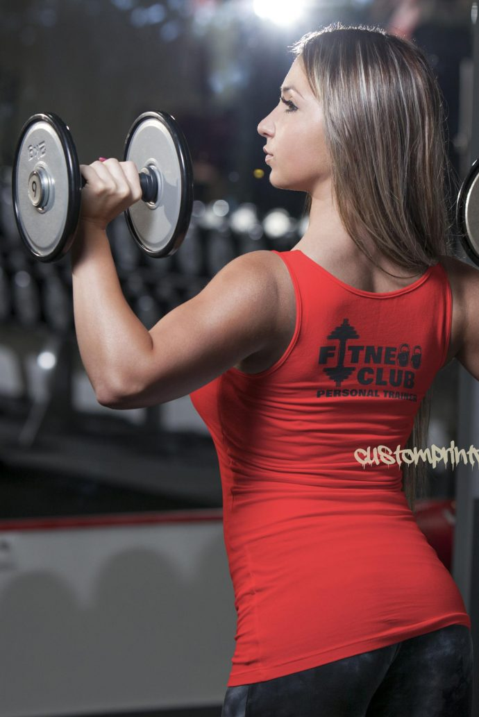 Womens fitness clubb personal trainer vest in red
