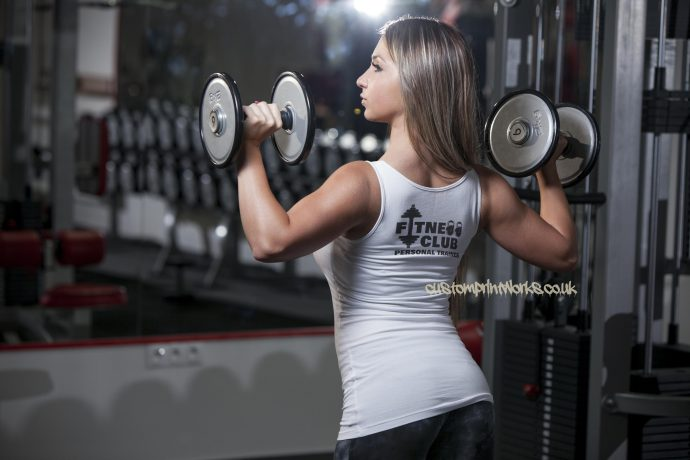 Womens fitness clubb personal trainer vest in white