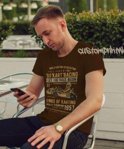 go kart racing t-shirt in brown