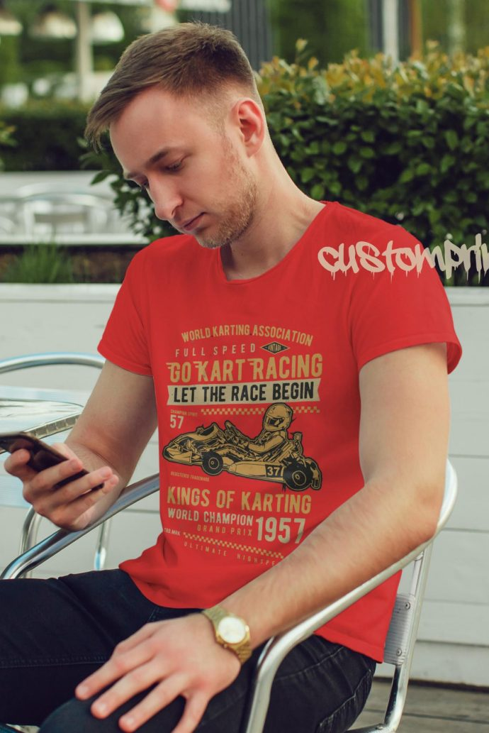 go kart racing t-shirt in red