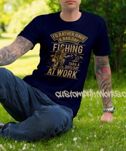 fishing t-shirt in navy blue gold print