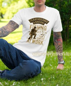 fishing t-shirt in white gold print