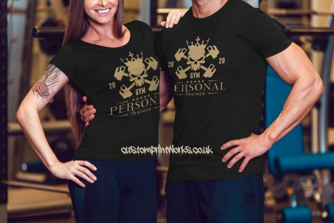 Male and female persoanl trainer t-shirts in black