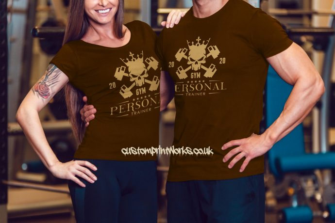 Male and female persoanl trainer t-shirts in brown