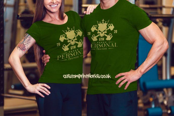 Male and female persoanl trainer t-shirts in green
