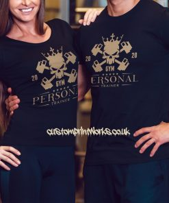 Male and female persoanl trainer t-shirts in navy blue
