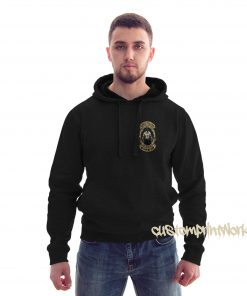 front view king of the gym hoodie in black