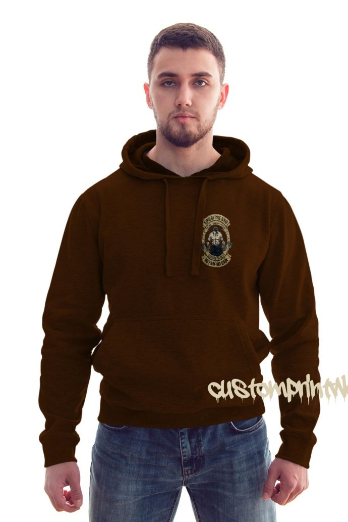 front view king of the gym hoodie in brown