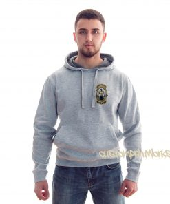front view king of the gym hoodie in heather grey
