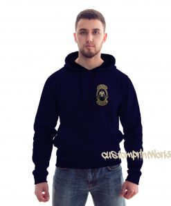 front view king of the gym hoodie in navy blue