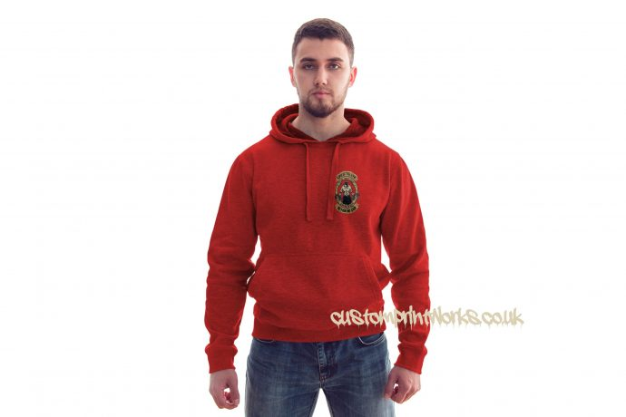 front view king of the gym hoodie in red