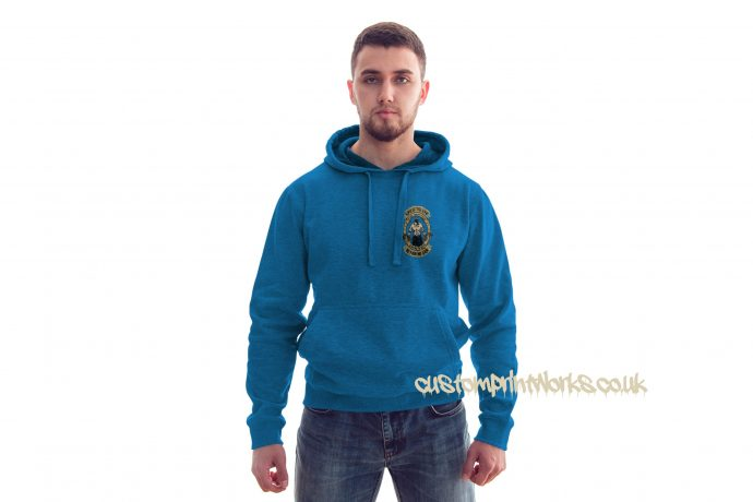 front view king of the gym hoodie in sky blue