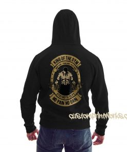 rear view king of the gym hoodie in sky black