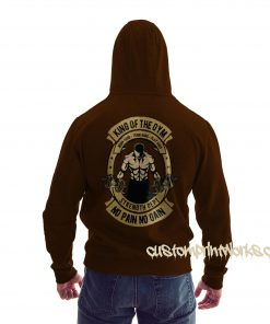 rear view king of the gym hoodie in sky brown