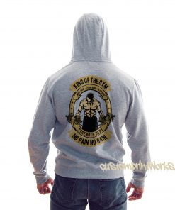 rear view king of the gym hoodie in white