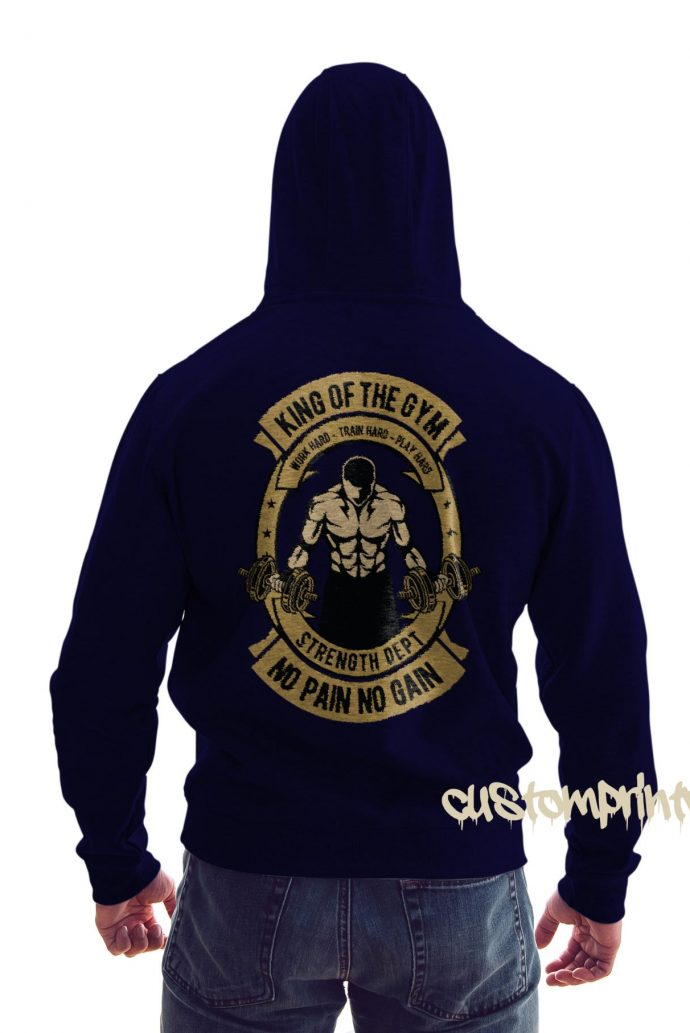 rear view king of the gym hoodie in navy blue