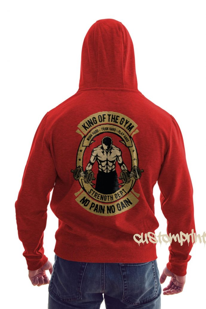 rear view king of the gym hoodie in red