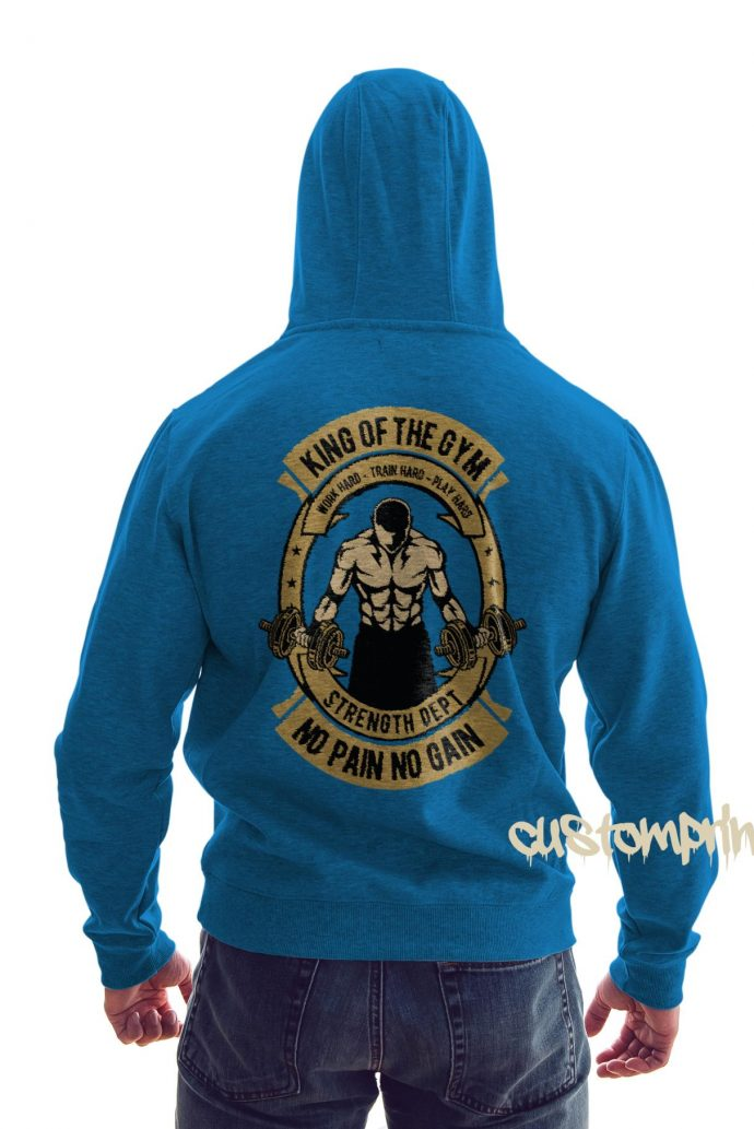 rear view king of the gym hoodie in sky blue