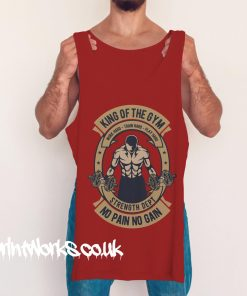 king of the gym vest in red