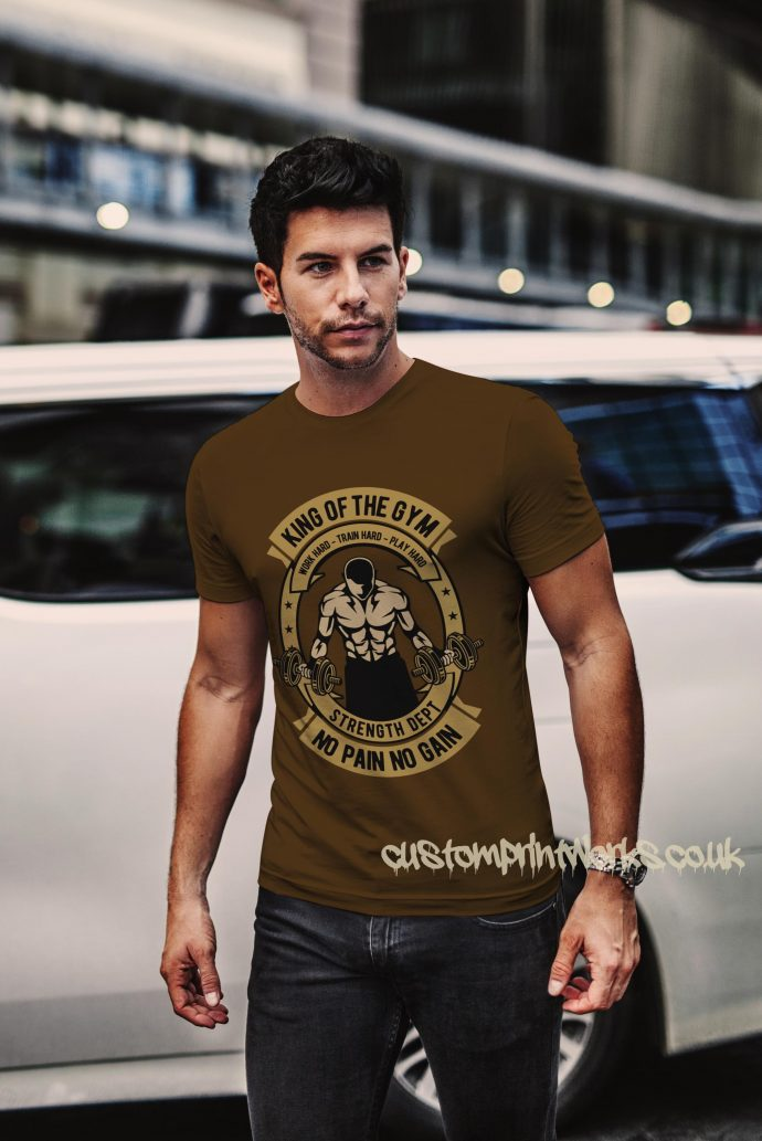 king of the gym t-shirt in brown