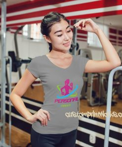 womens grey personal trainer fitness t-shirt