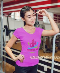 womens pink personal trainer fitness t-shirt