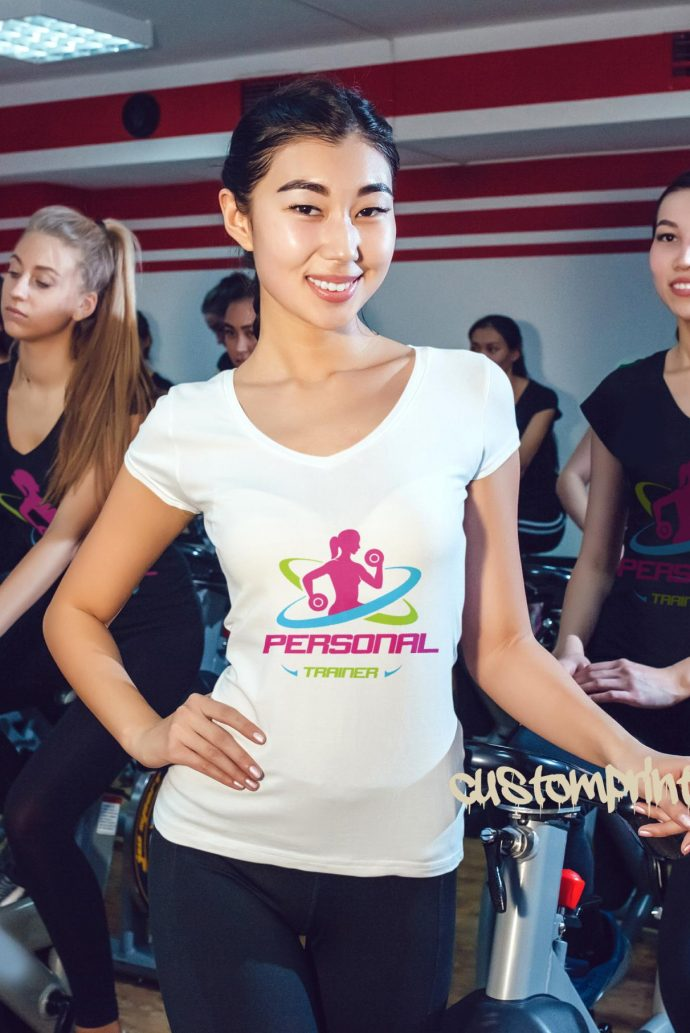 womens white personal trainer fitness t-shirt